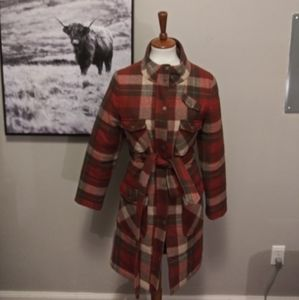 Pendleton Plaid Quilted Belted Wool Trench
